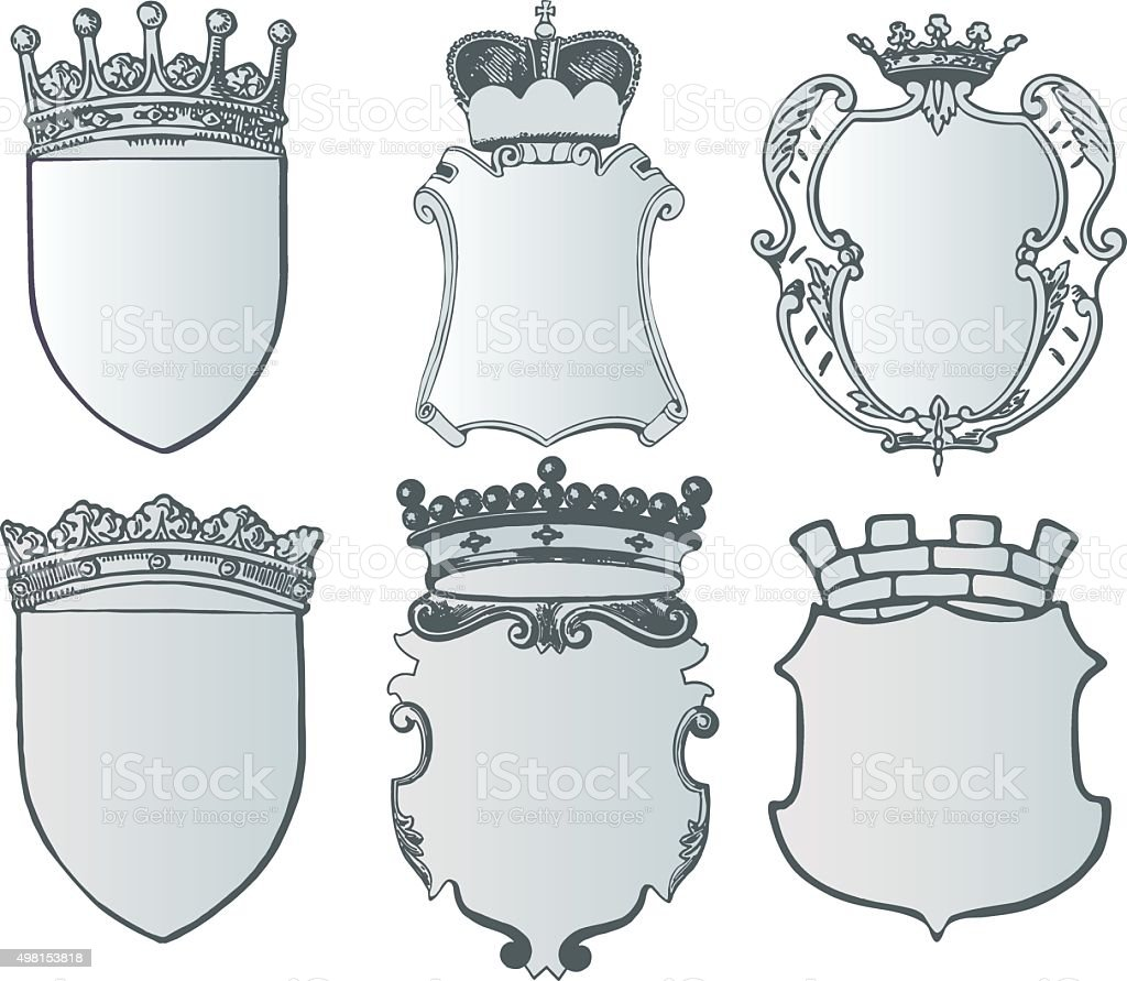 Heraldic Element Collection And Coat Of Arms Template stock vector – Coat of Arms Template