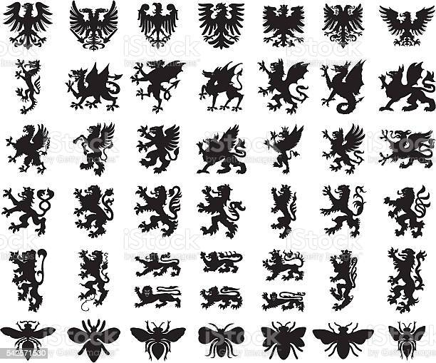 Heraldic elements animals set vector id542571530?b=1&k=6&m=542571530&s=612x612&h=k jlghic9bdwjseobmc63emz0l6sgpflpfbnd6cwooy=
