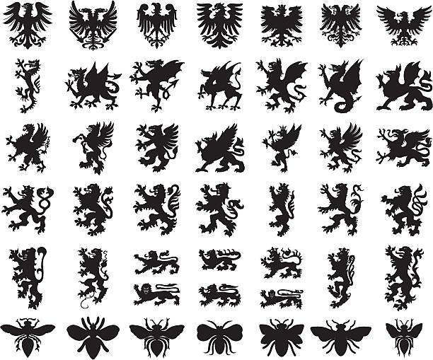 illustrations, cliparts, dessins animés et icônes de heraldic elements animals set - dragon