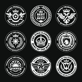 heraldic elements, insignia, signs, stamps vector set