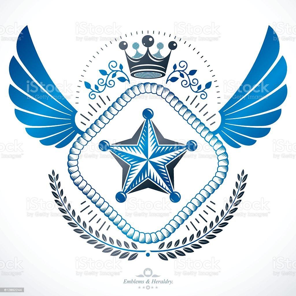 Heraldic emblem isolated vector illustration. - ilustração de arte em vetor
