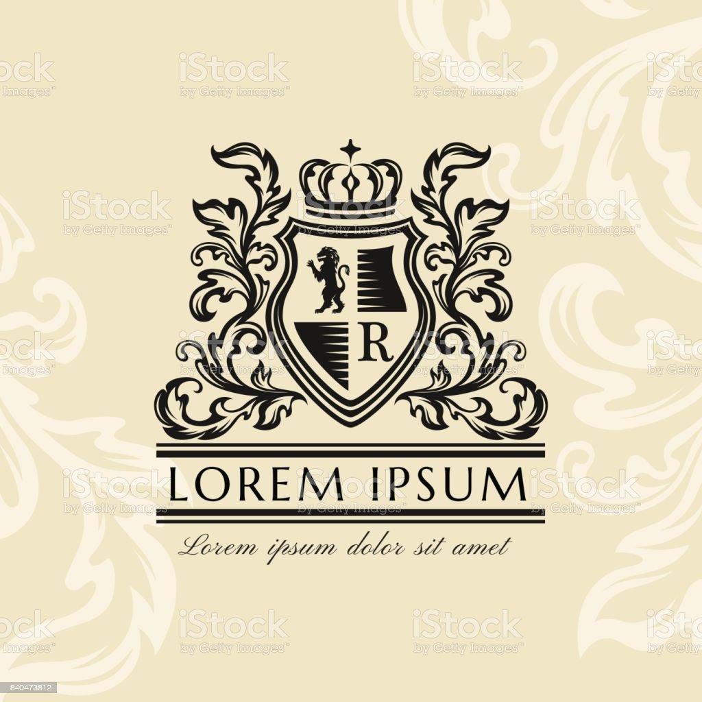 Heraldic emblem template. Vintage ornamental emblem vector art illustration