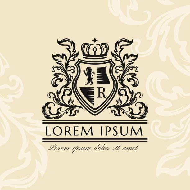 heraldic emblem template. vintage ornamental emblem - coat of arms stock illustrations, clip art, cartoons, & icons