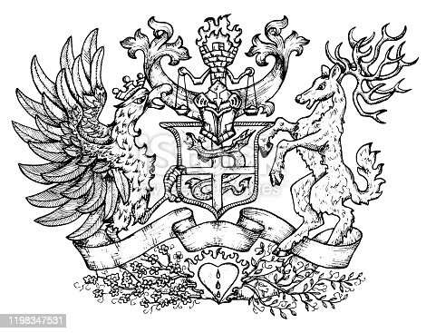 istock Heraldic emblem with fairy rooster bird and deer with big horns. 1198347531