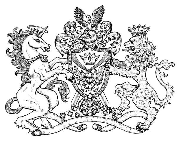 Heraldic emblem with unicorn and fairy lion beast on white, line art. vector art illustration
