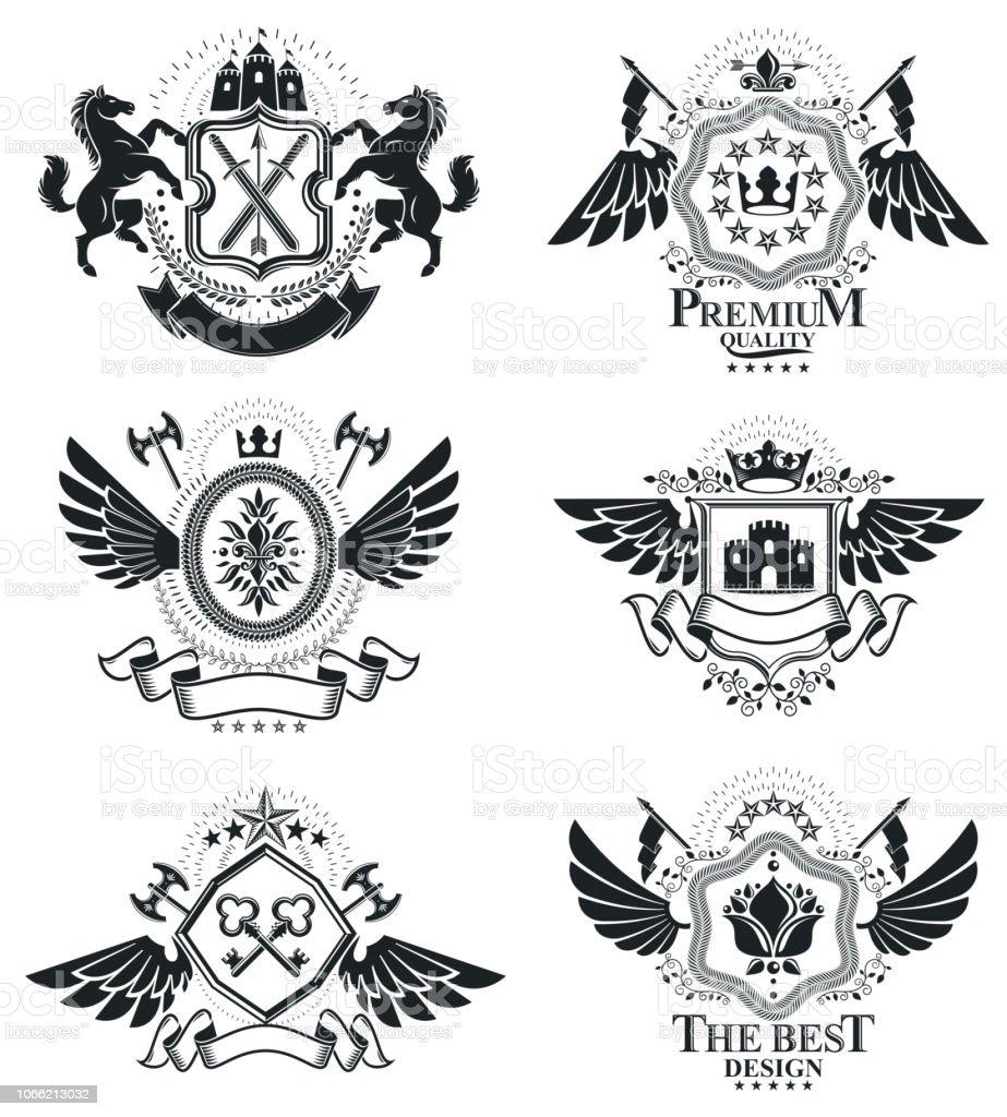 Emblemas heráldicas isolaram ilustrações vetoriais. Coleção de símbolos em estilo vintage. - ilustração de arte em vetor
