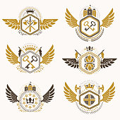 Heraldic emblems with wings isolated. Collection of vector symbols