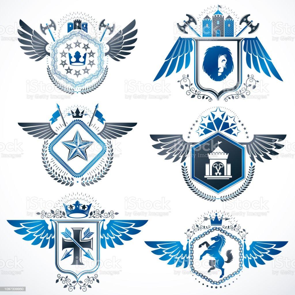 Emblemas heráldicas com asas isoladas no fundo branco. Coleção de símbolos vetoriais em estilo vintage criado usando armaria e heráldica elementos como coroas, Torres, cruzes. - ilustração de arte em vetor