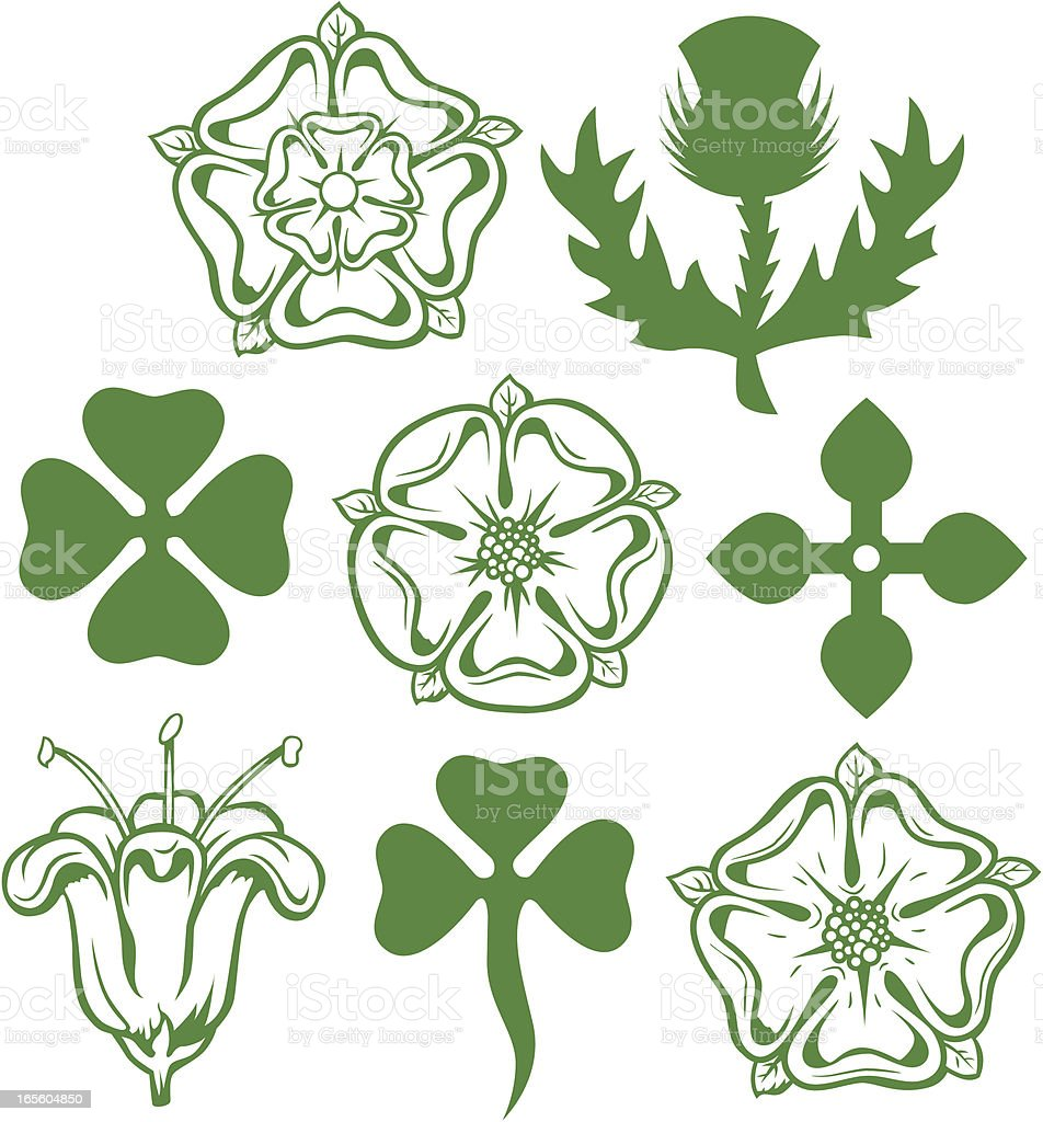 Heraldic Flowers vector art illustration