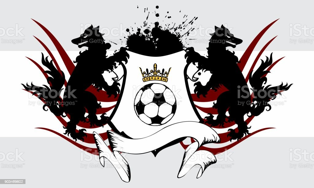 heraldic futbol soccer wolf crest coat of arms background