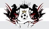 heraldic futbol soccer wolf crest coat of arms background