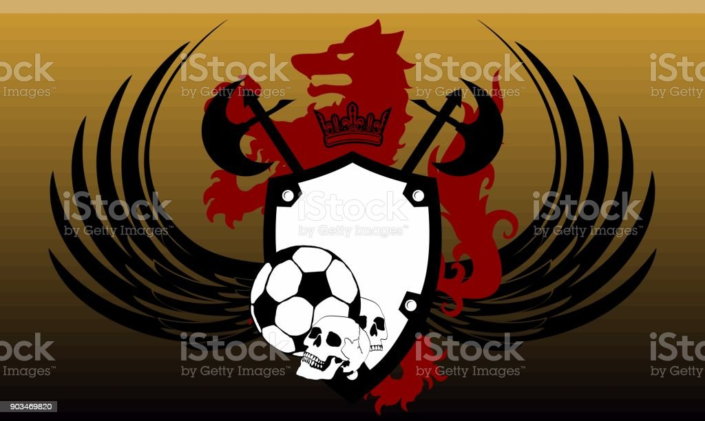 heraldic futbol wolf crest coat of arms background