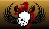 heraldic futbol wolf crest coat of arms background