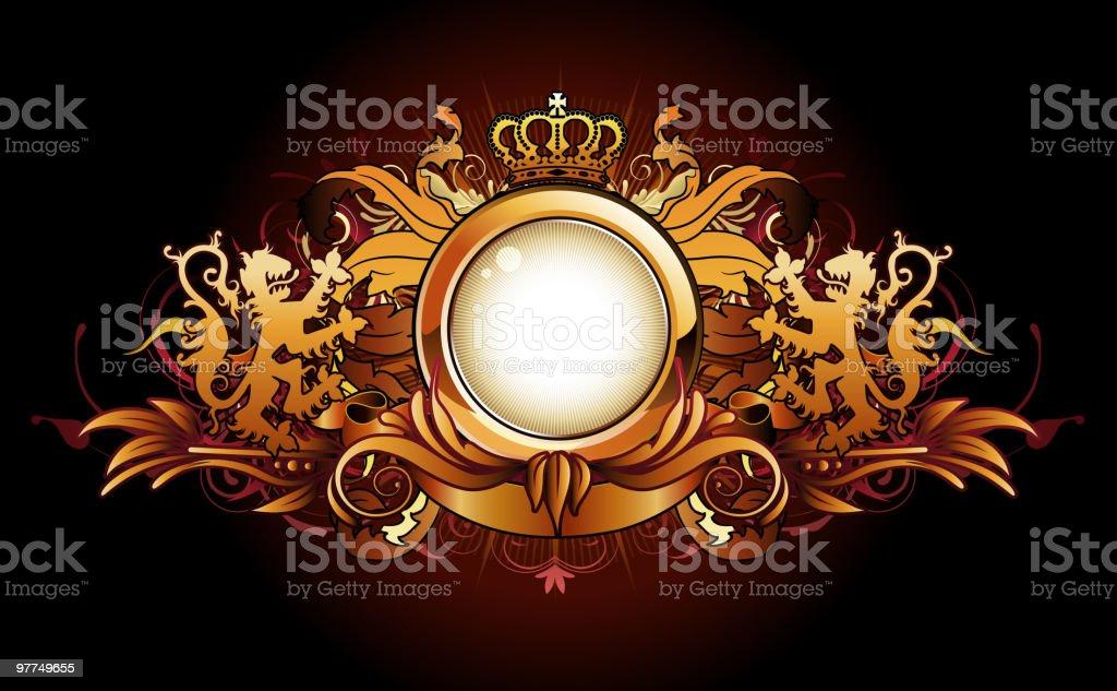 heraldic golden frame royalty-free stock vector art