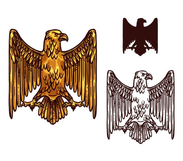 전 령 골든 고딕 독수리, 벡터 - 독일 문화 stock illustrations
