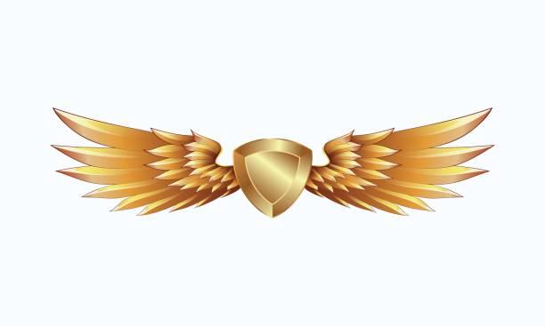goldenen wappenschild mit flügel emblem. gold wappen. - schutzengel stock-grafiken, -clipart, -cartoons und -symbole