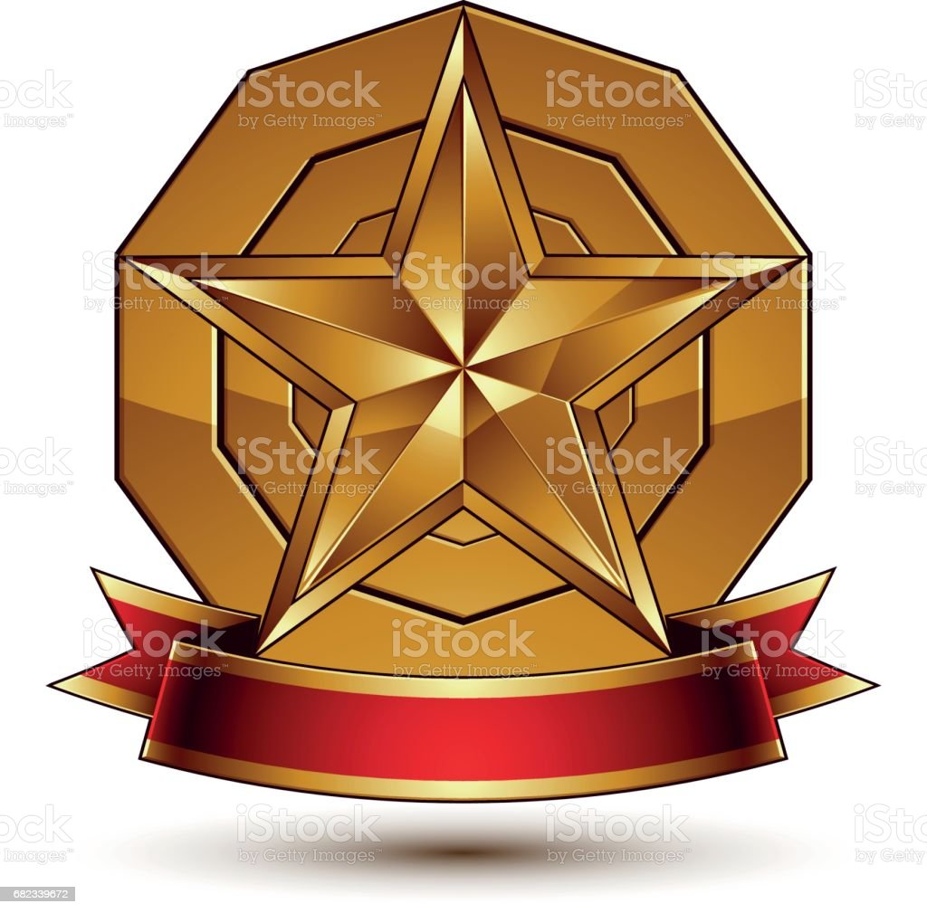 Heraldic golden symbol with stylized pentagonal star and red decorative curvy ribbon, best for use in web and graphic design. Sophisticated gold monarch ring isolated on white background. heraldic golden symbol with stylized pentagonal star and red decorative curvy ribbon best for use in web and graphic design sophisticated gold monarch ring isolated on white background - immagini vettoriali stock e altre immagini di a forma di stella royalty-free