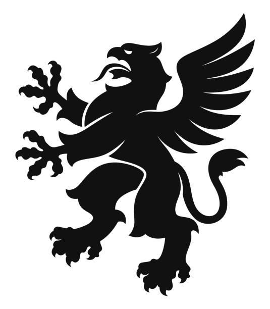 헤럴드크 그리핀 심플 블랙 - 그리핀 stock illustrations