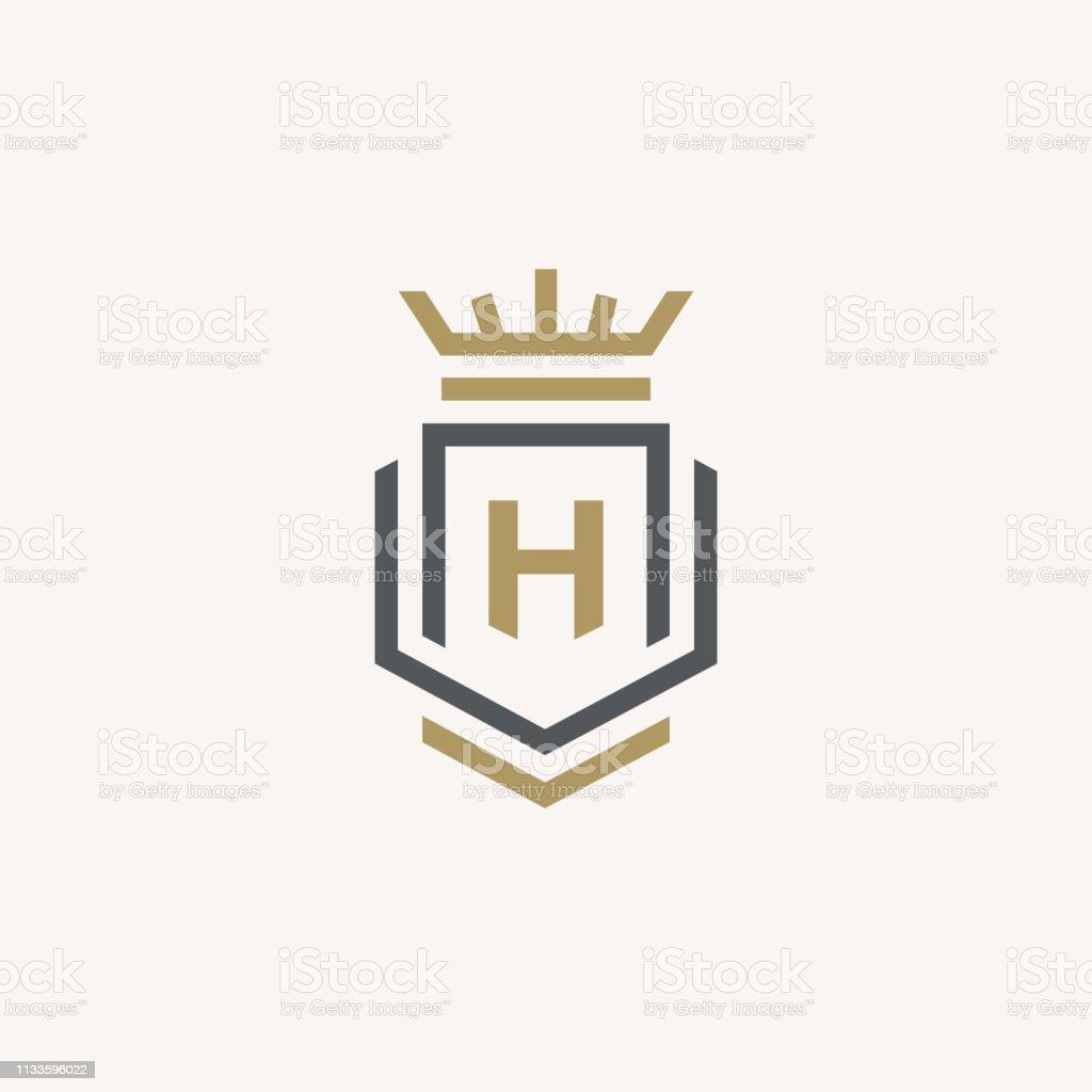 Heraldic Letter H monogram. Elegant minimal logo design. Letter H +...