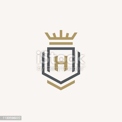 istock Heraldic Letter H monogram. Elegant minimal logo design. Letter H + Crown + Book + Shield. 1133596022