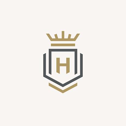 Heraldic Letter H monogram. Elegant minimal logo design. Letter H + Crown + Book + Shield.