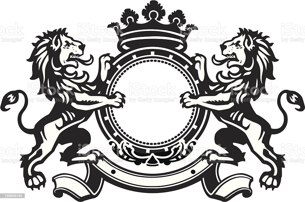 Heraldic Lion Crest 8 vector art illustration