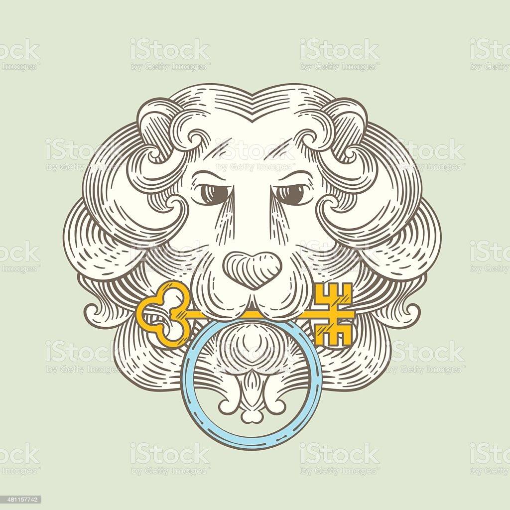 Heraldic Lion Head Classic Door Knocker Stock Illustration
