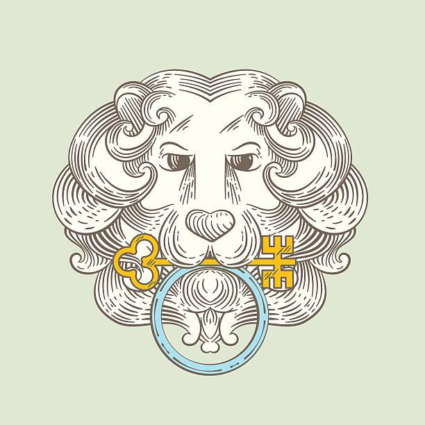 heraldic löwenkopf klassischen türklopfer - türklopfer stock-grafiken, -clipart, -cartoons und -symbole
