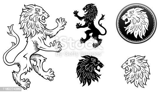 Black & White lion emblem and lions head