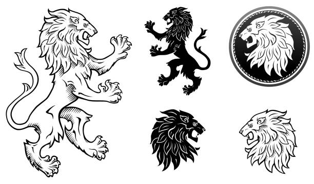 Heraldic lion, lion head silhouettes Black & White lion emblem and lions head lion stock illustrations