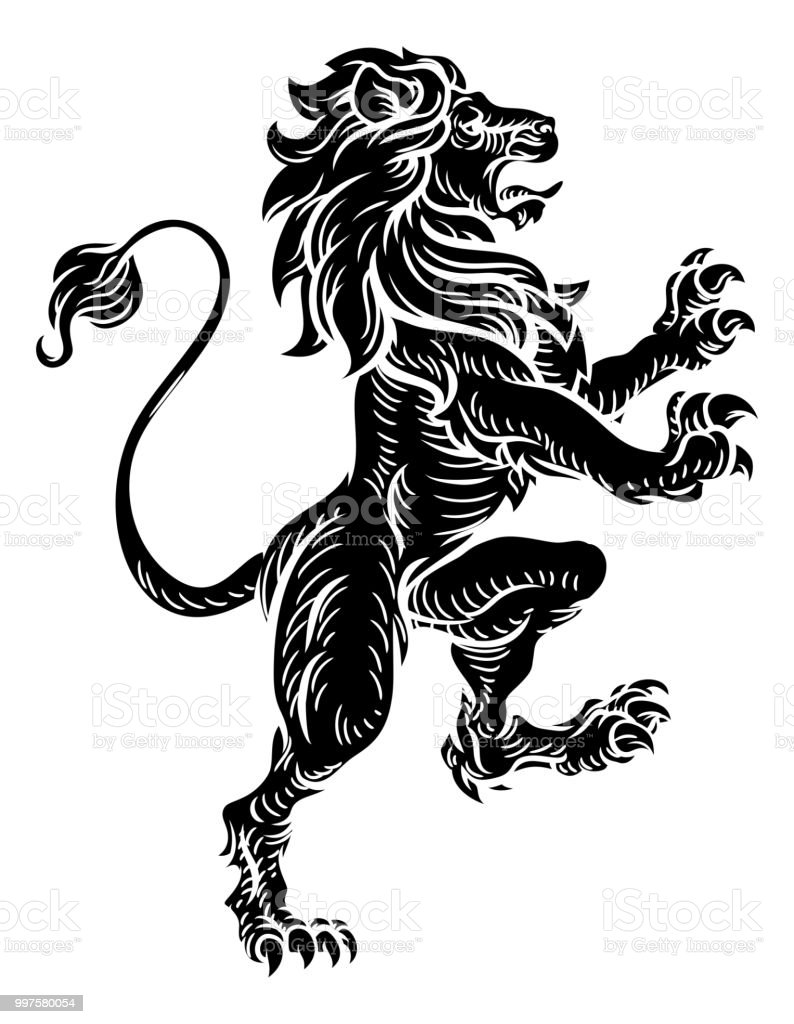 Heraldic Lion Standing Rampant On Hind Legs vector art illustration