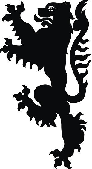 Heraldic lion vector illustration. Black white silhouette