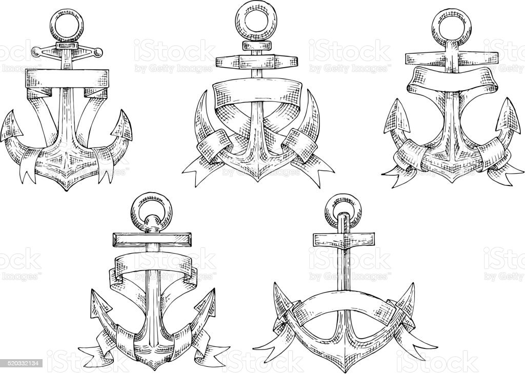 Heraldic marine anchors with ribbons vector art illustration