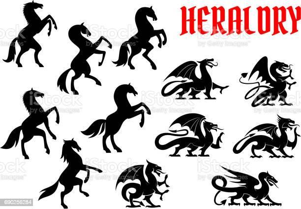 Heraldic mythical animals silhouette emblems vector id690256284?b=1&k=6&m=690256284&s=612x612&h=ecosu0qa5lvsm4a0tzibgw5h4wq7olj0qixb p0yfxq=