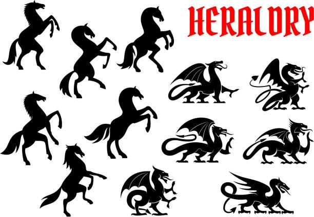 heraldic mythical animals silhouette emblems - pegasus stock illustrations