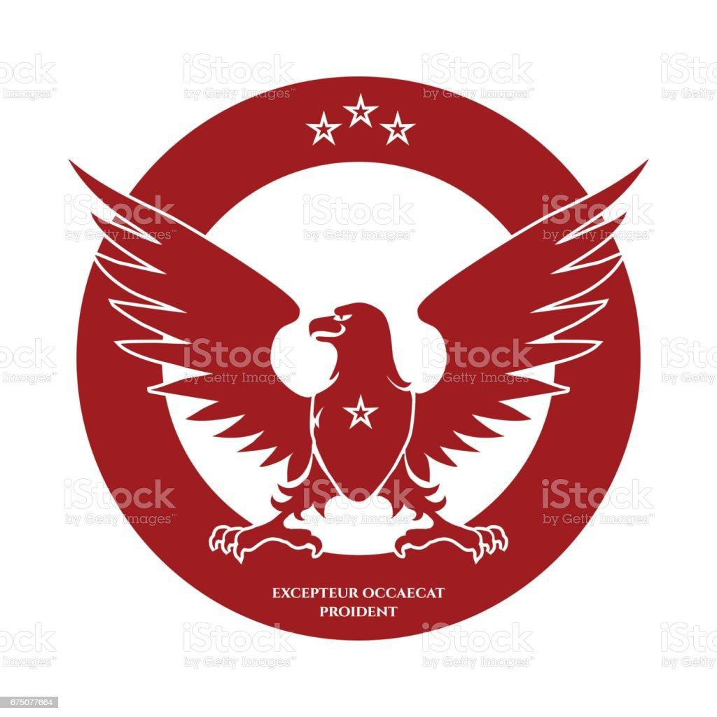 Heraldic red eagle and stars logo