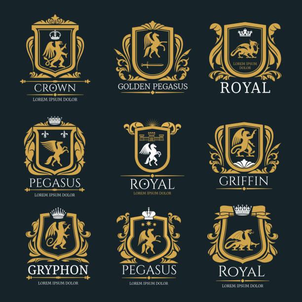 bildbanksillustrationer, clip art samt tecknat material och ikoner med heraldiska royal djur vektor isolerade ikoner - släktvapen