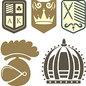 Heraldic royal crest medieval knight elements vintage king symbol heraldry castle badge vector illustration