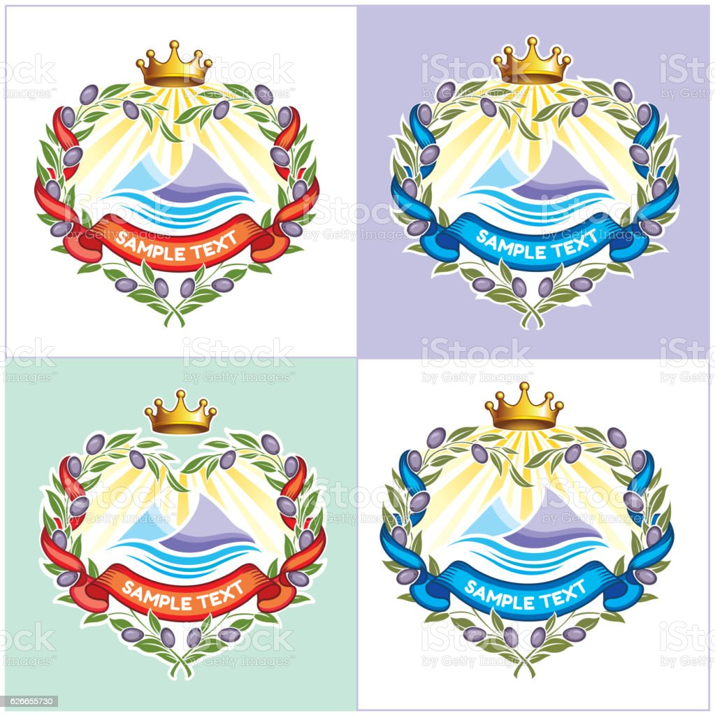 Heraldic sea emblem vector art illustration