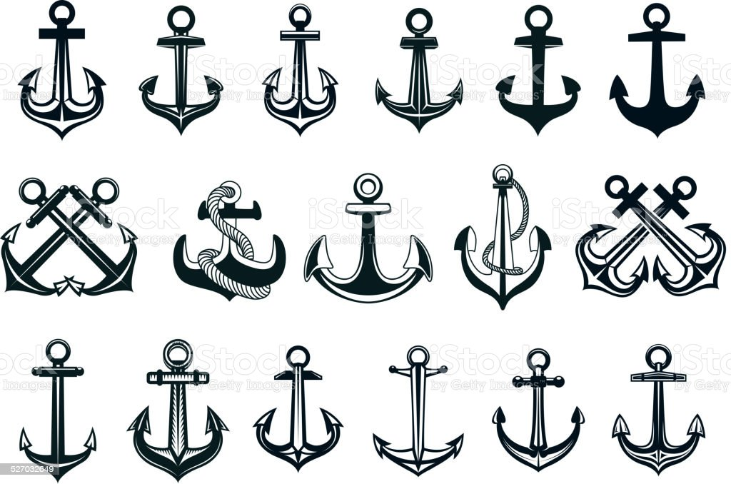 Heraldic set of ships anchor icons vector art illustration