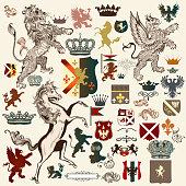 Heraldic set of vector design elements in vintage style