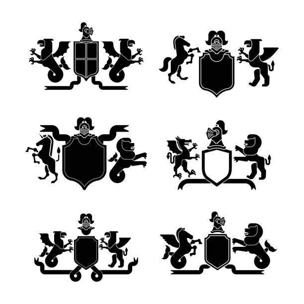 Heraldic Shield And Knight Helmet Set Silhouette Fantastic Beasts Template Heraldry Design Element