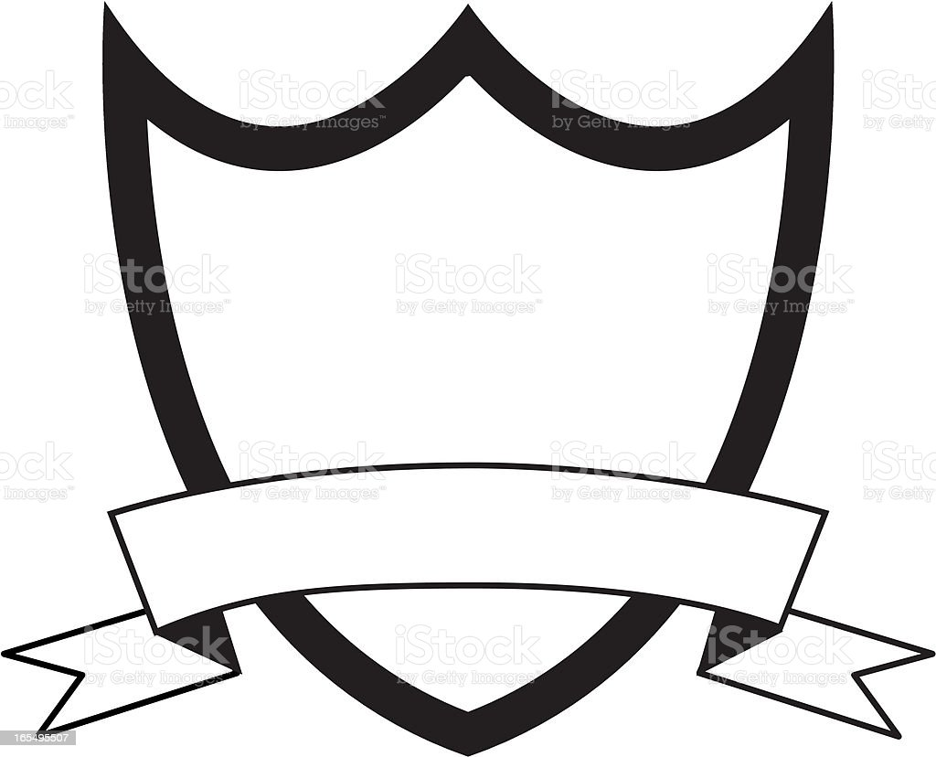 Line Art Ribbon : Heraldic shield banner stock vector art & more images of award