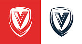 Heraldic shield emblem with letter V - Clipart for Company or Club with same suitable Name
