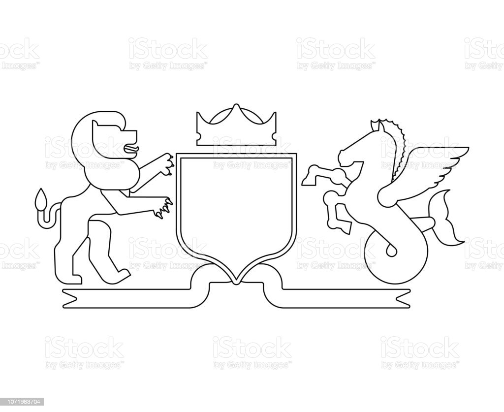 cozt of arms diagram best wiring library Orangutan Diagram heraldic shield lion and hippoc us and knight helmet fantastic beasts template heraldry design element