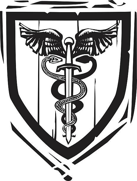 illustrazioni stock, clip art, cartoni animati e icone di tendenza di araldica scudo spada caduceo - ancient medical symbol