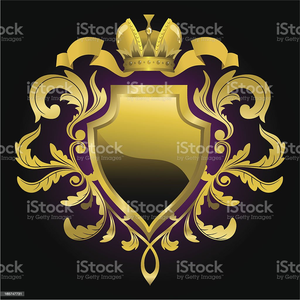 Heraldic shield vector art illustration