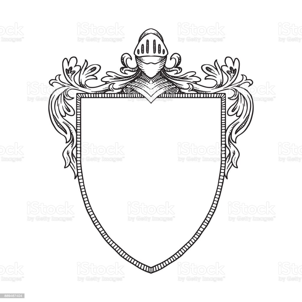 heraldic shield with a knights helmet and curls line art stock