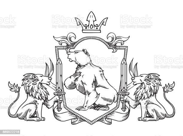 Heraldic shield with bear and lions line art vector id889522218?b=1&k=6&m=889522218&s=612x612&h=ay31akvjczrzgk04ea3nu5xsxfpdnoms5qgp7 byu0g=