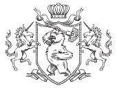 Heraldic shield with bear and unicorns, line art